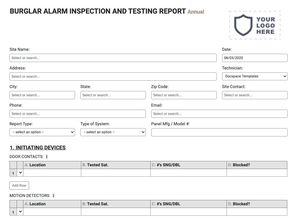 burglar-alarm-inspection-form