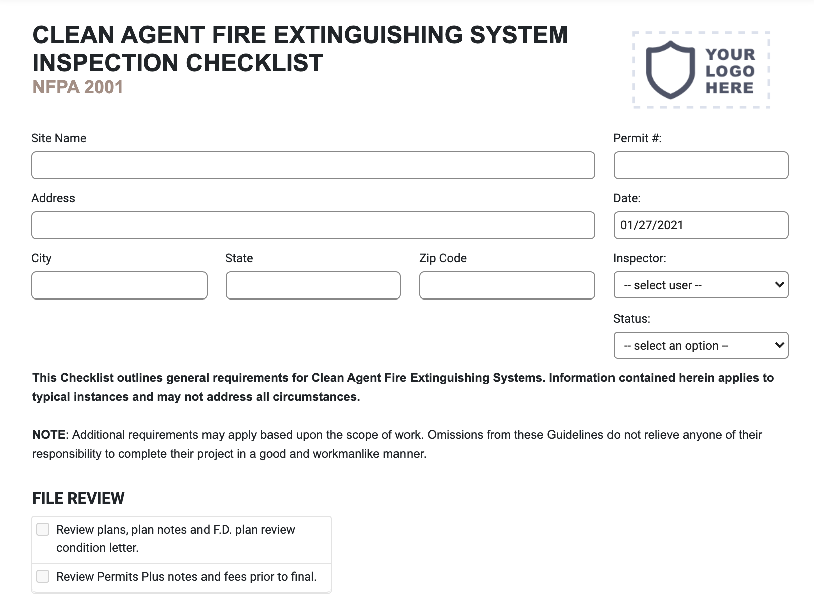 Clean Agent Fire Extinguishing System Inspection Checklist