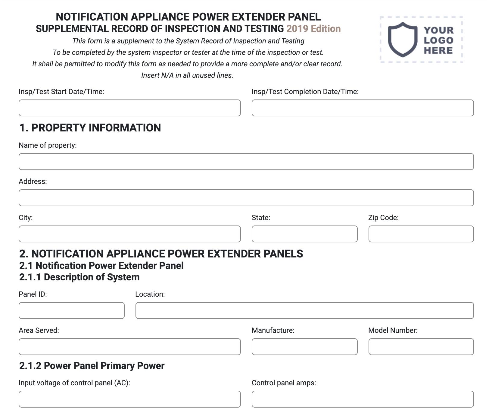 Notification Appliance Power Extender Panel Form