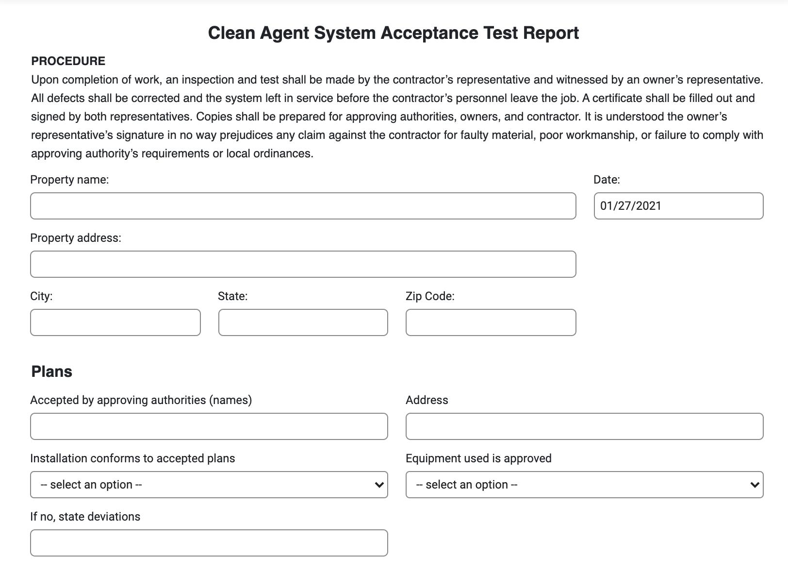 clean agent acceptance test report