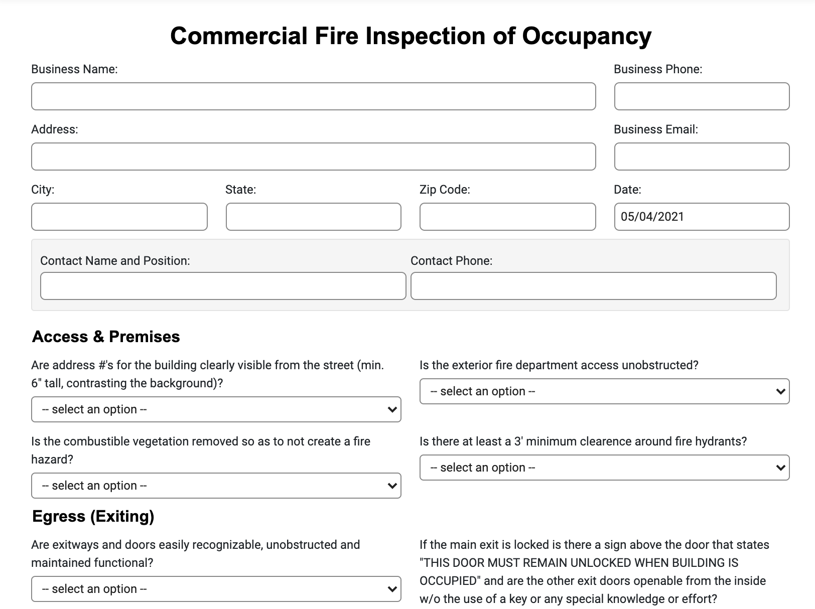 fire inspection of occupancy form